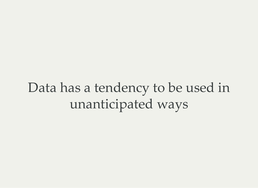 Data has a tendency to be used in unanticipated...