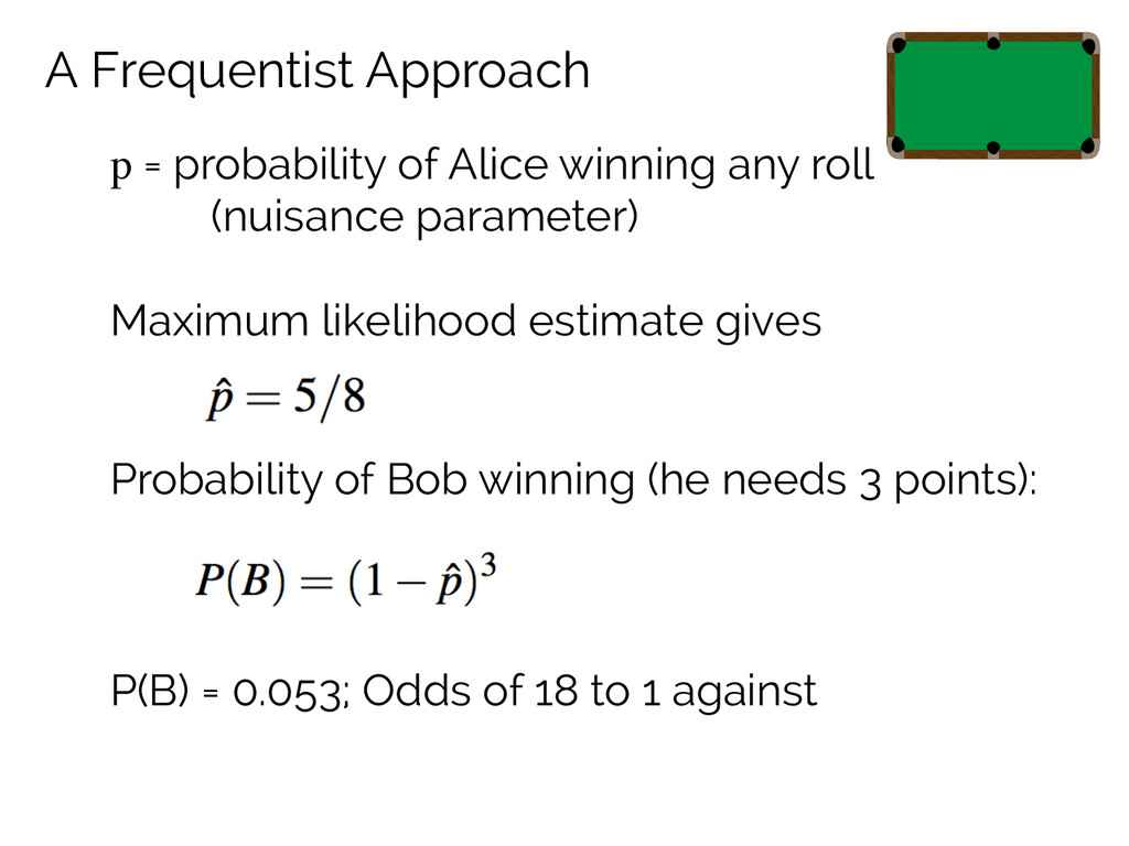 A Frequentist Approach p = probability of Alice...