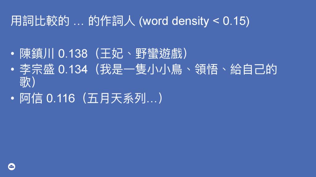 አ扃穉斃ጱ … ጱ֢扃Ո (word density < 0.15) • 檔椆 0.138...