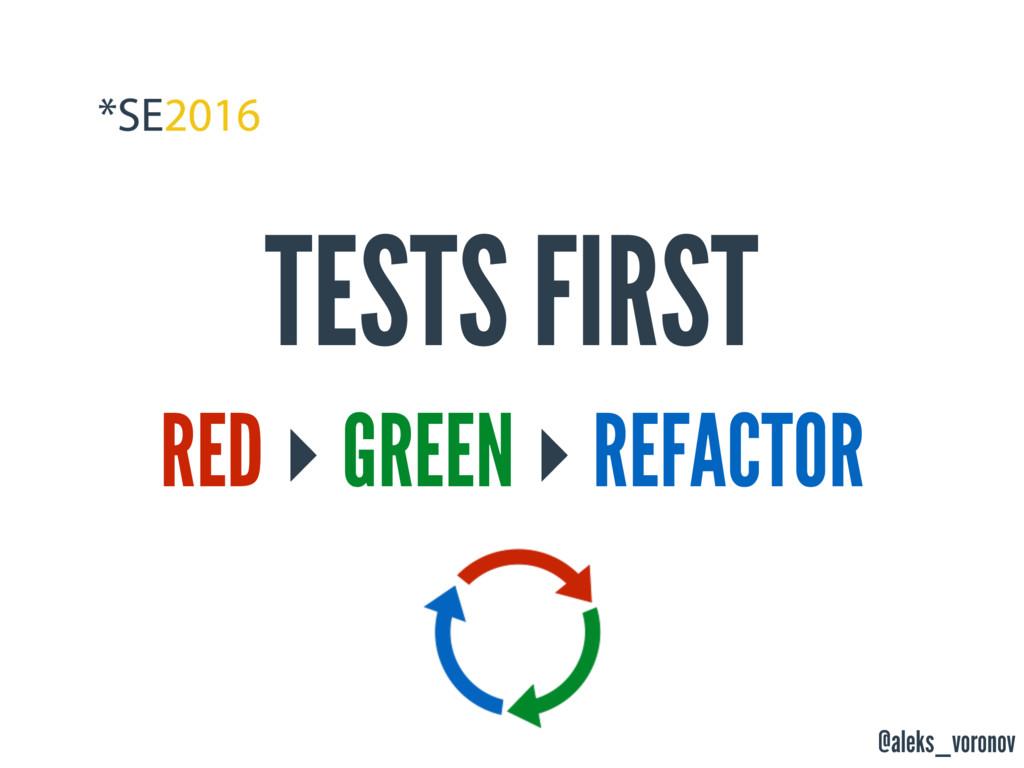 @aleks_voronov TESTS FIRST RED ‣ GREEN ‣ REFACT...