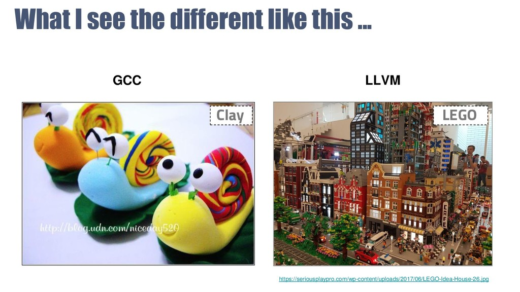 What I see the different like this ... GCC LLVM...