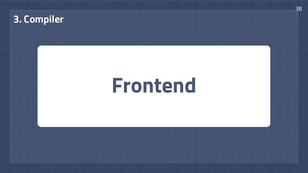 Frontend 3. Compiler 38
