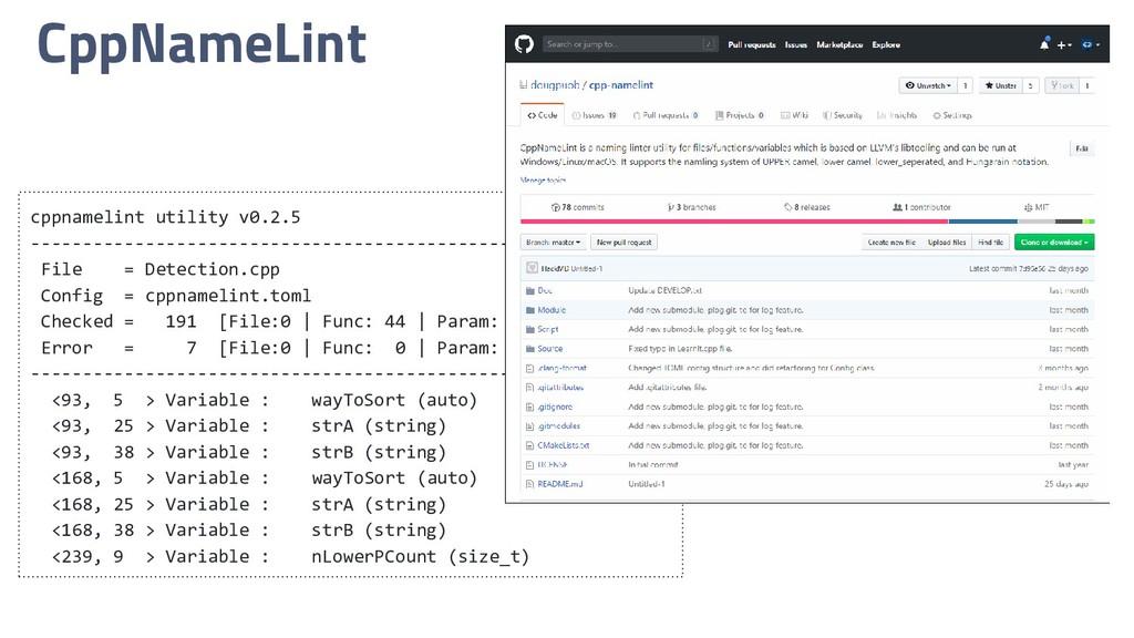 CppNameLint cppnamelint utility v0.2.5 --------...