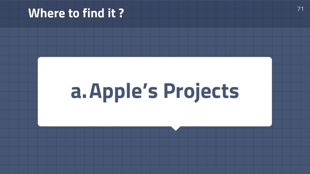 Where to find it ? 71 a.Apple's Projects