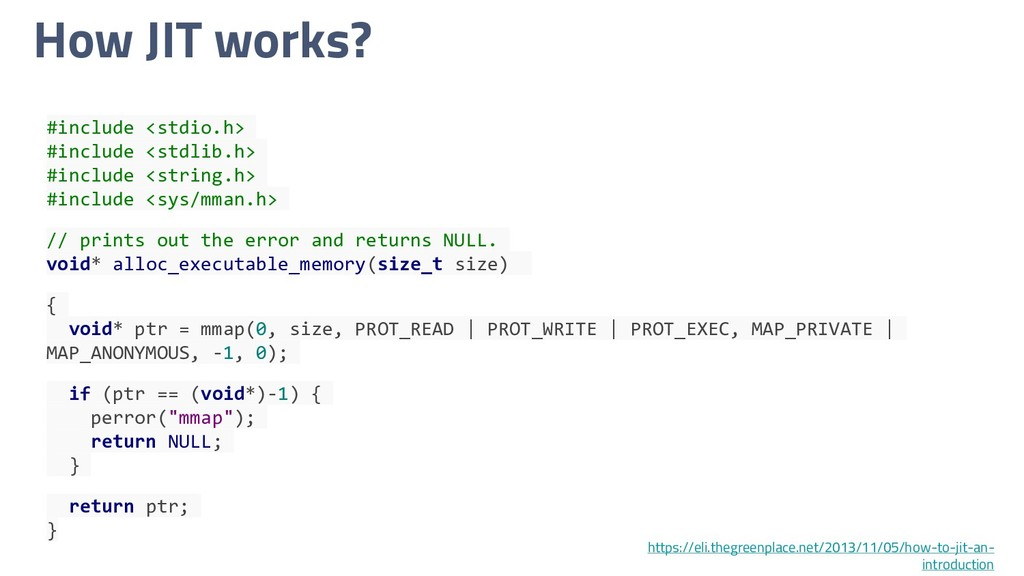 How JIT works? #include <stdio.h> #include <std...