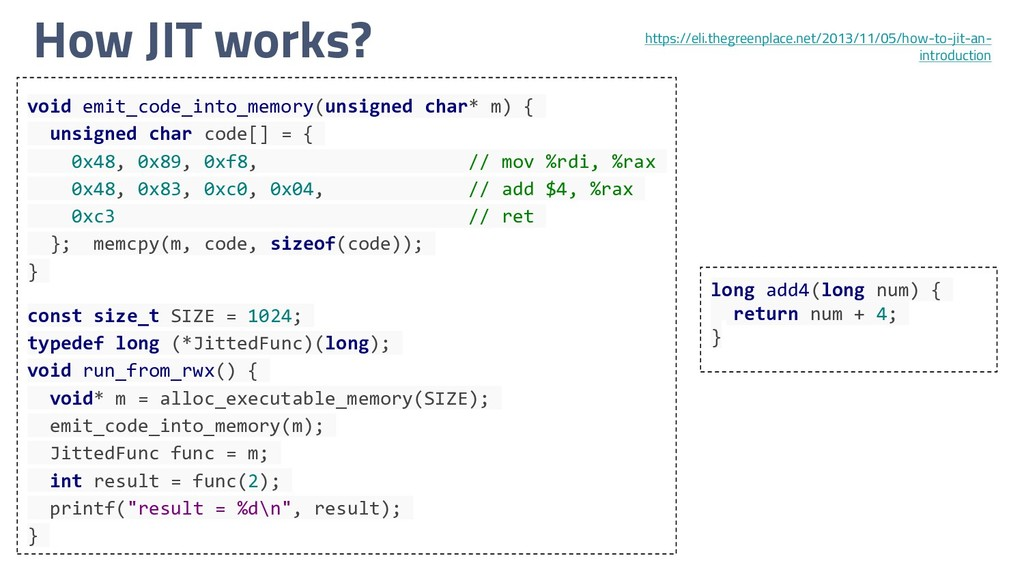How JIT works? void emit_code_into_memory(unsig...