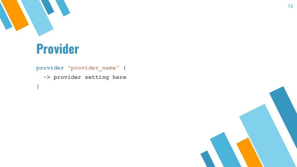 "Provider 14 provider ""provider_name"" { -> provi..."
