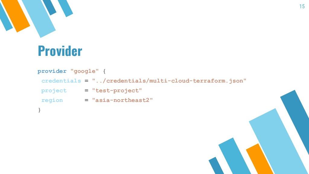 "Provider provider ""google"" { credentials = ""../..."