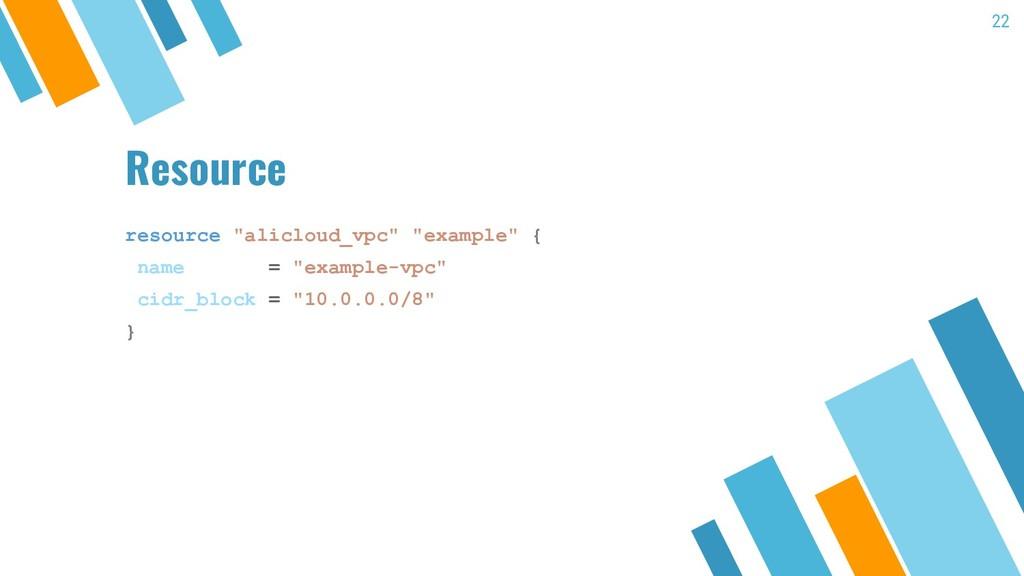 "Resource resource ""alicloud_vpc"" ""example"" { na..."