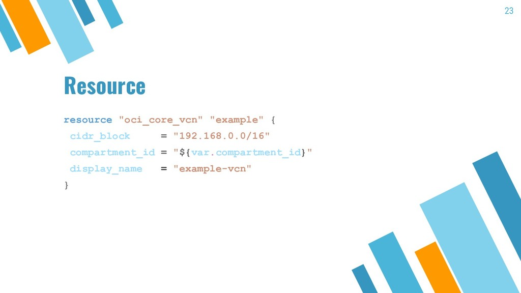 "Resource resource ""oci_core_vcn"" ""example"" { ci..."