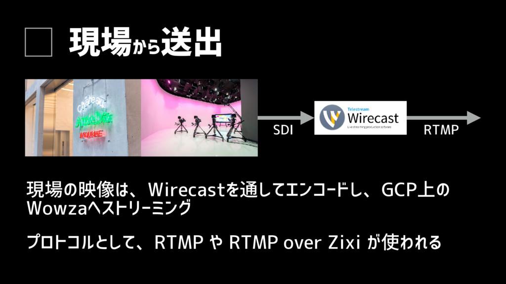 現場から 送出 現場の映像は、Wirecastを通してエンコードし、GCP上の Wowzaへス...