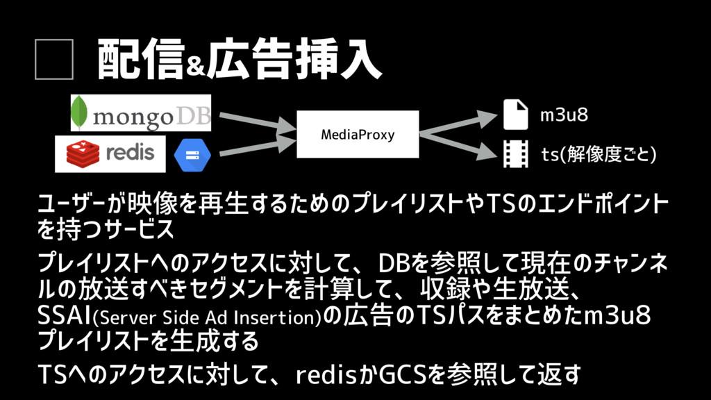 配信& 広告挿入 ユーザーが映像を再生するためのプレイリストやTSのエンドポイント を持つサー...