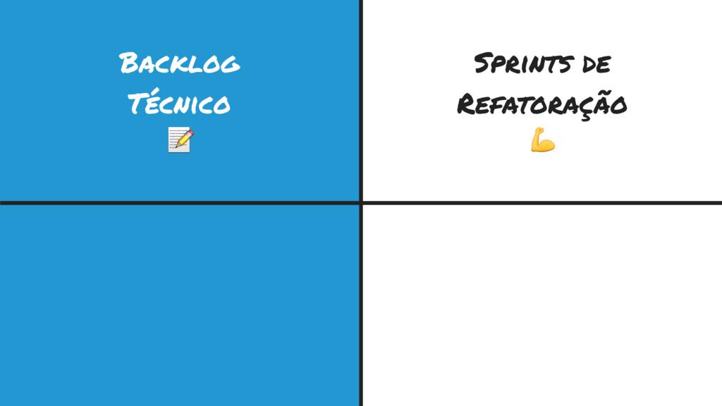 Backlog Técnico  Sprints de Refatoração