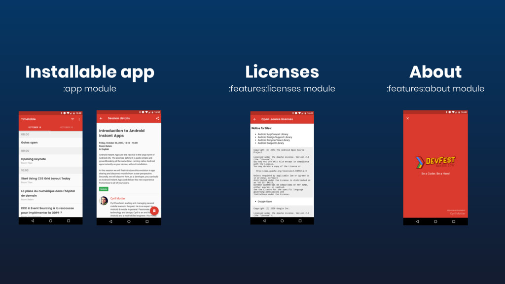 Licenses :features:licenses module Installable ...