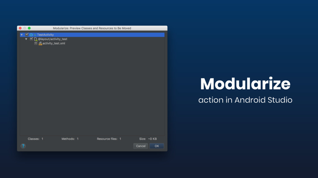 Modularize action in Android Studio