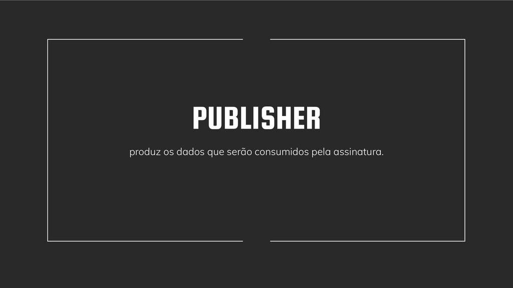 PUBLISHER produz os dados que serão consumidos ...