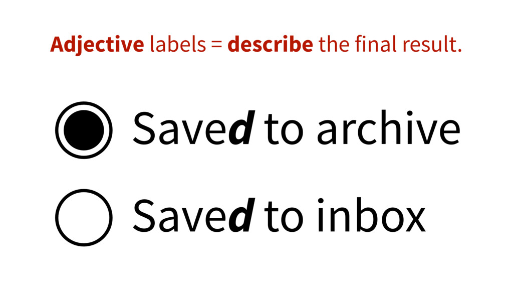 Saved to archive Saved to inbox Adjective label...