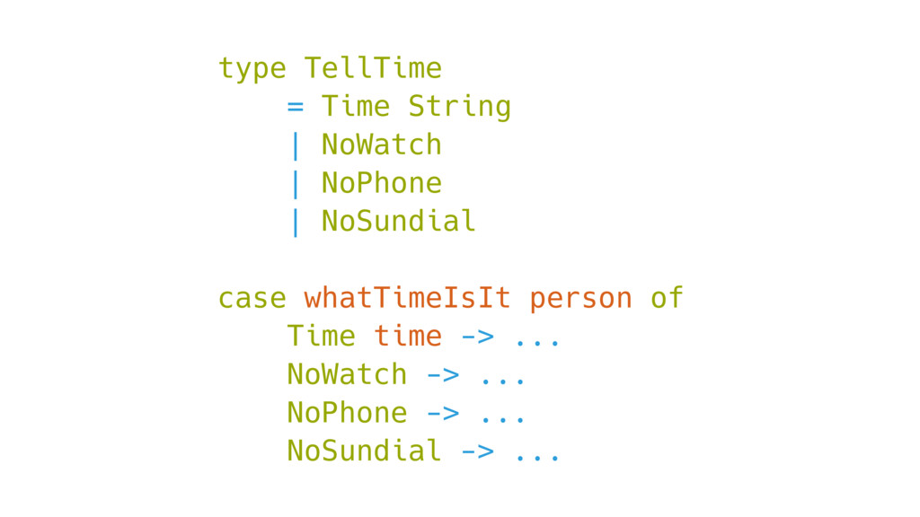 type TellTime = Time String | NoWatch | NoPhone...