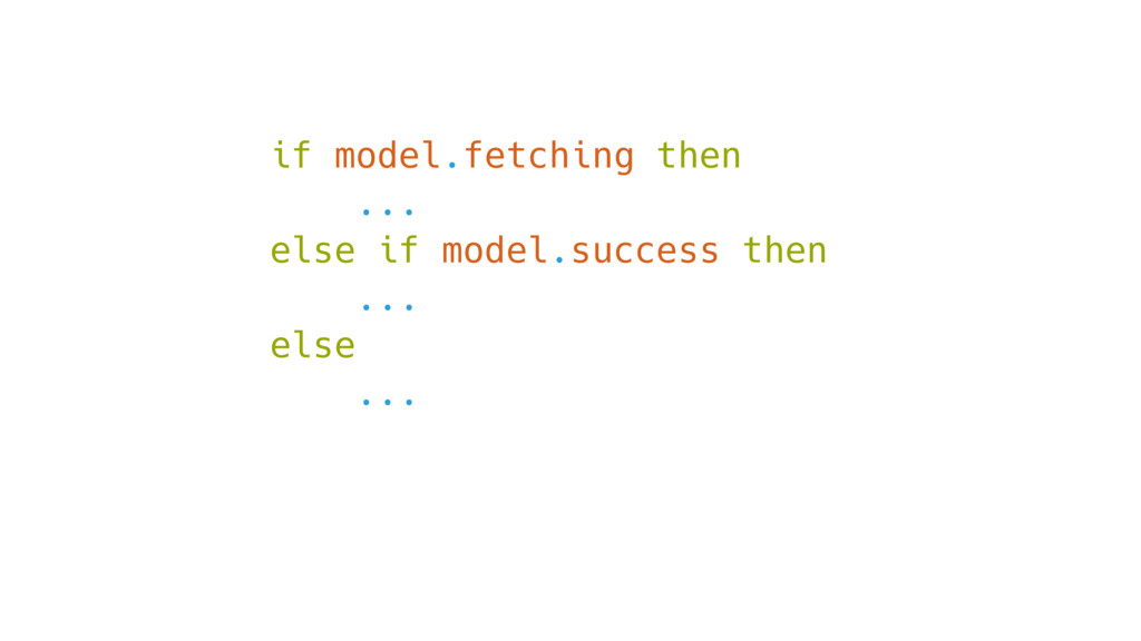 if model.fetching then ... else if model.succes...