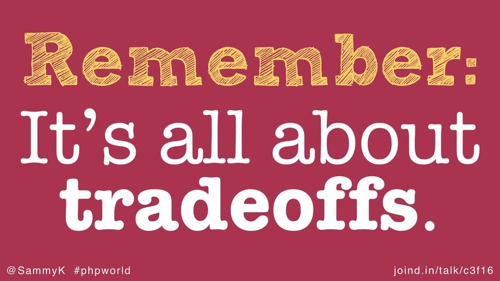 joind.in/talk/c3f16 @SammyK #phpworld Remember:...