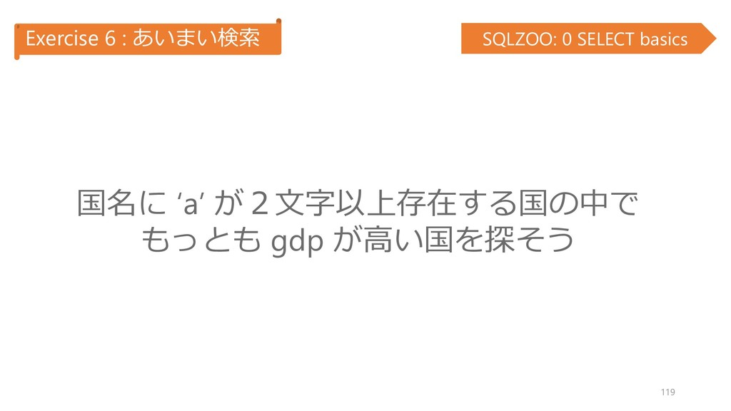 Exercise 6 : あいまい検索 SQLZOO: 0 SELECT basics 国名に...