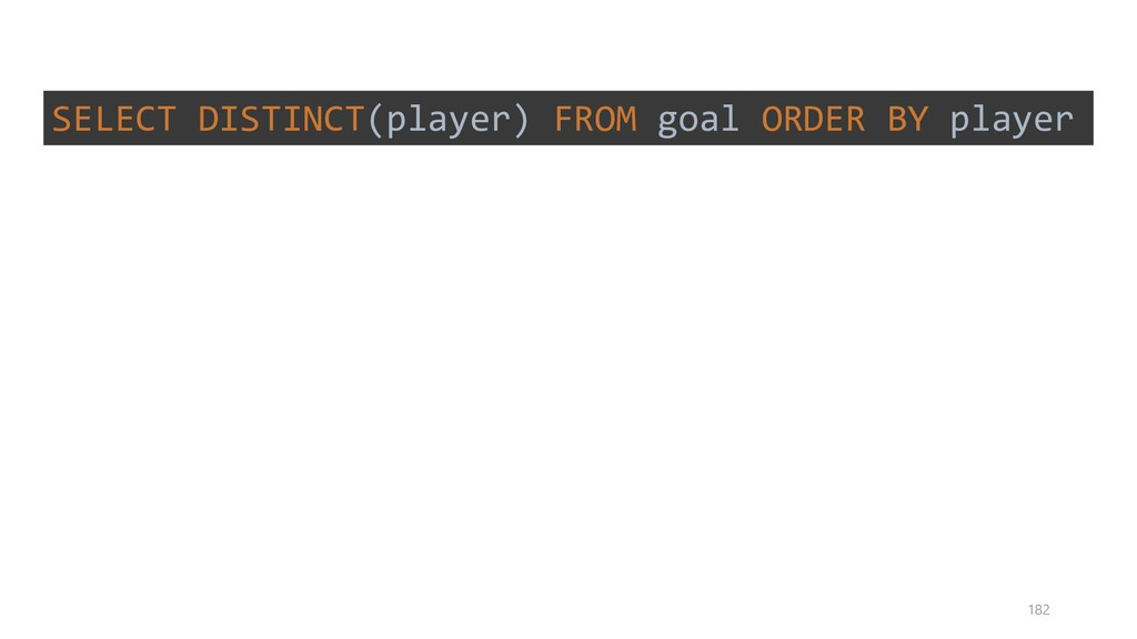 SELECT DISTINCT(player) FROM goal ORDER BY play...