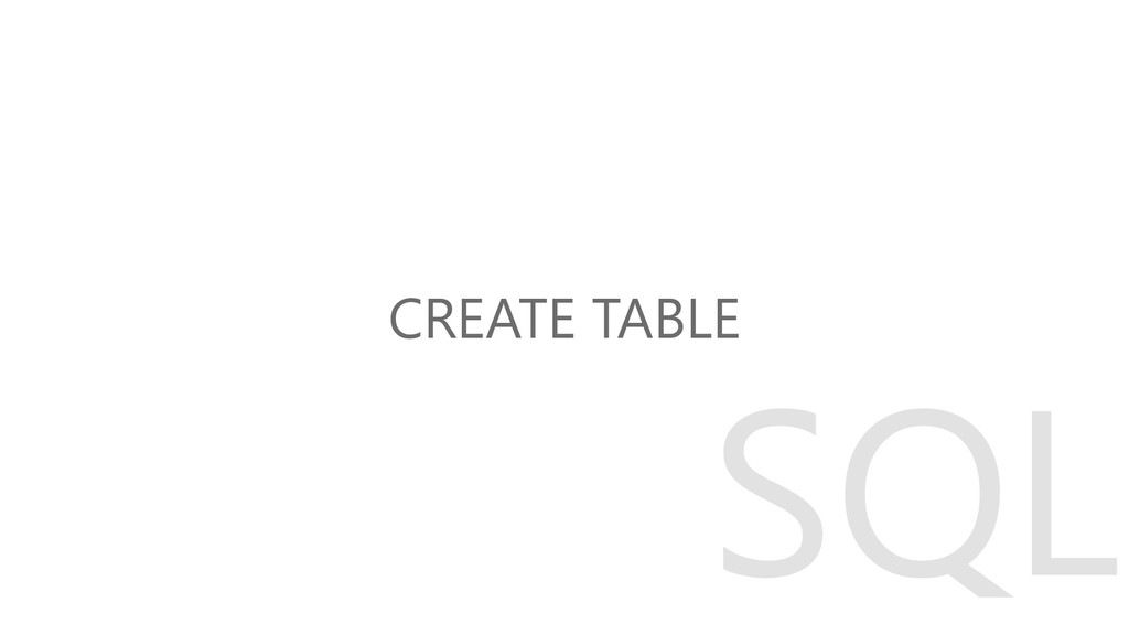 CREATE TABLE SQL