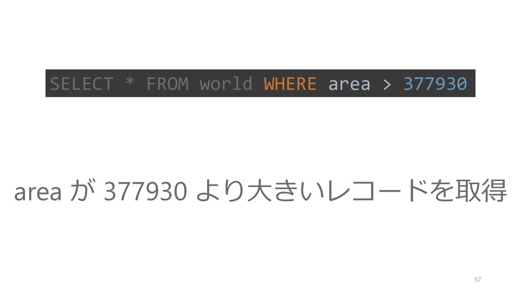 SELECT * FROM world WHERE area > 377930 area が ...