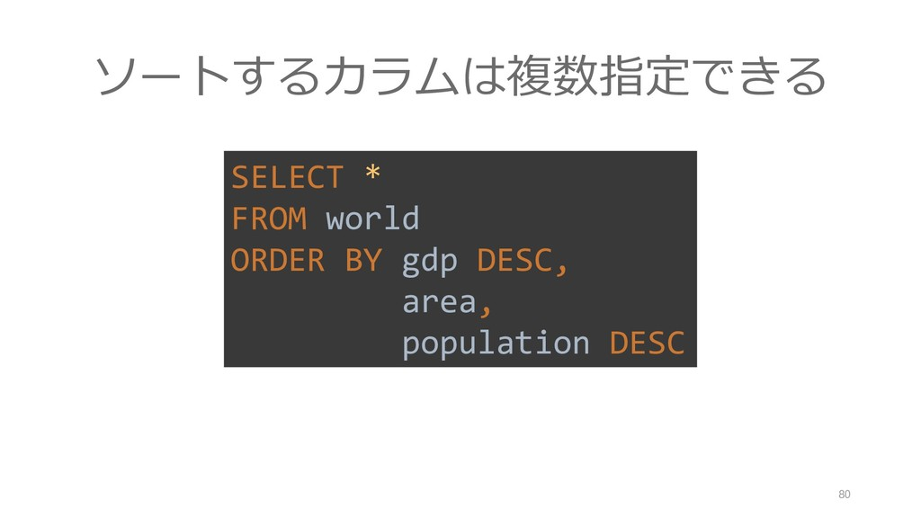 SELECT * FROM world ORDER BY gdp DESC, area, po...