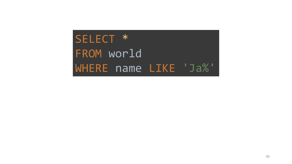 SELECT * FROM world WHERE name LIKE 'Ja%' 96