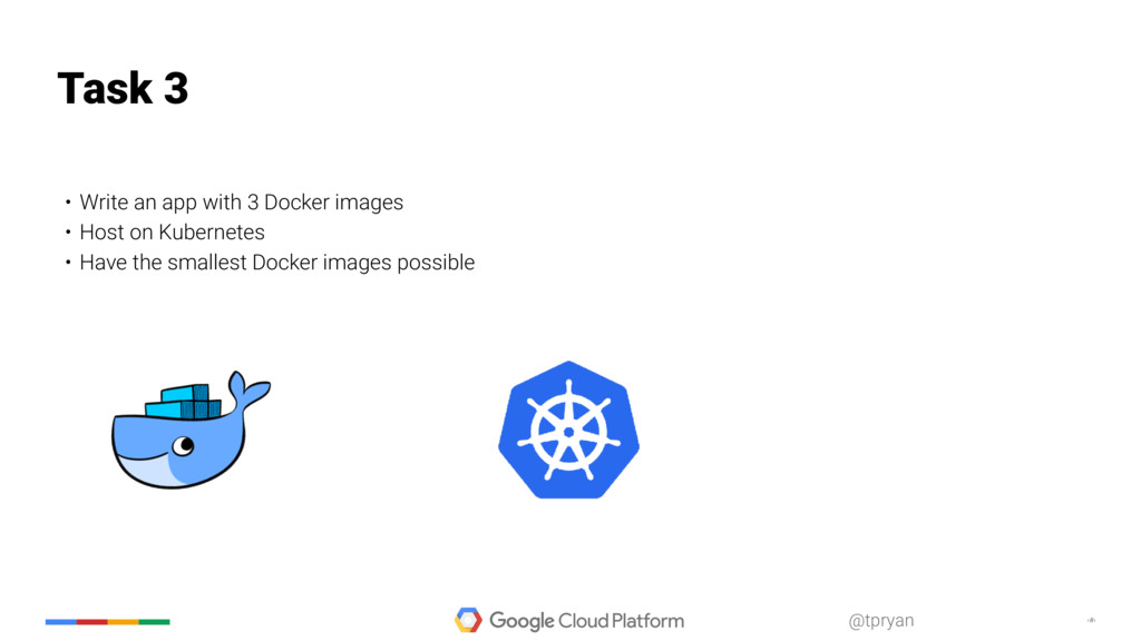 ‹#› @tpryan • Write an app with 3 Docker images...