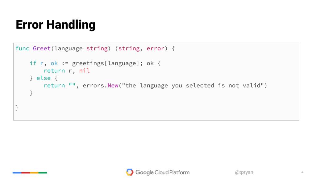 ‹#› @tpryan func Greet(language string) (string...