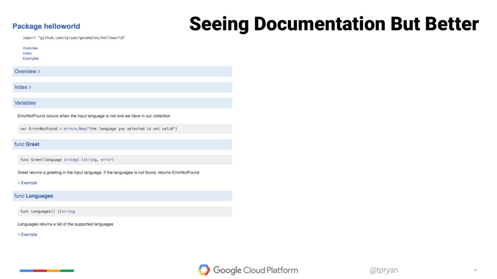 ‹#› @tpryan Seeing Documentation But Better