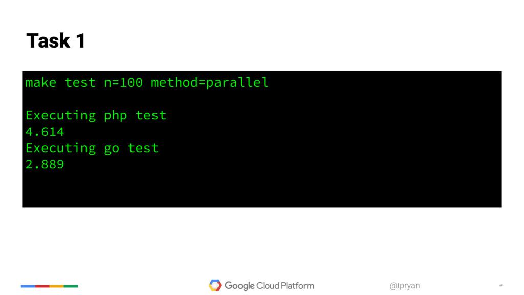 ‹#› @tpryan make test n=100 method=parallel Exe...