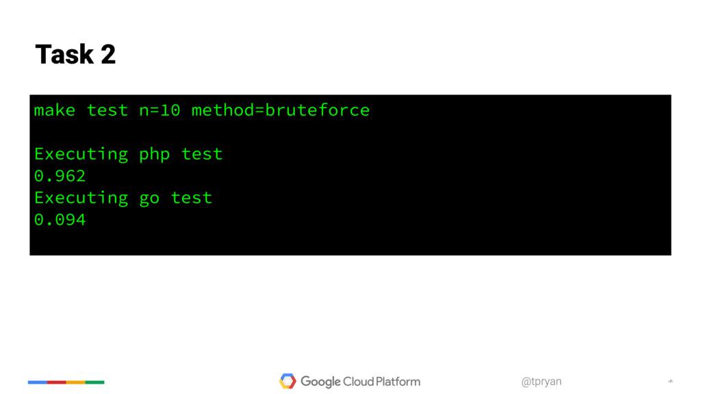 ‹#› @tpryan make test n=10 method=bruteforce Ex...