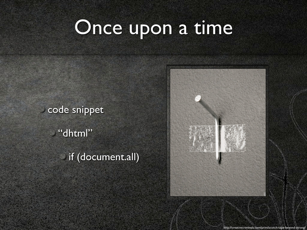 """Once upon a time code snippet """"dhtml"""" if (docum..."""
