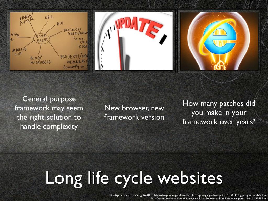 Long life cycle websites General purpose framew...