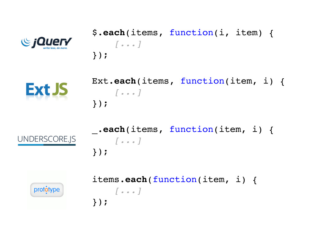 _.each(items, function(item, i) { [...] }); Ext...