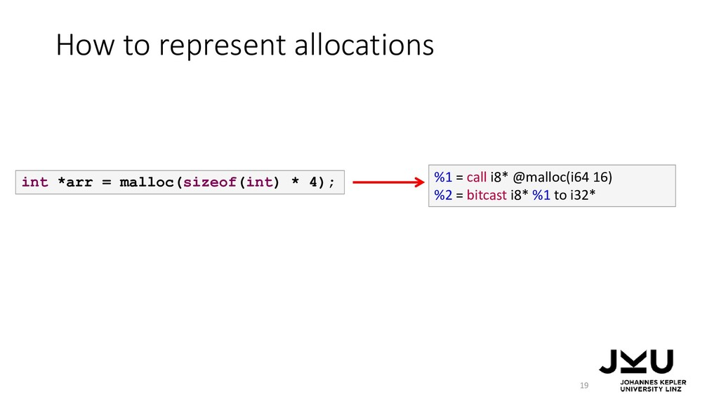 How to represent allocations 19 int *arr = mall...