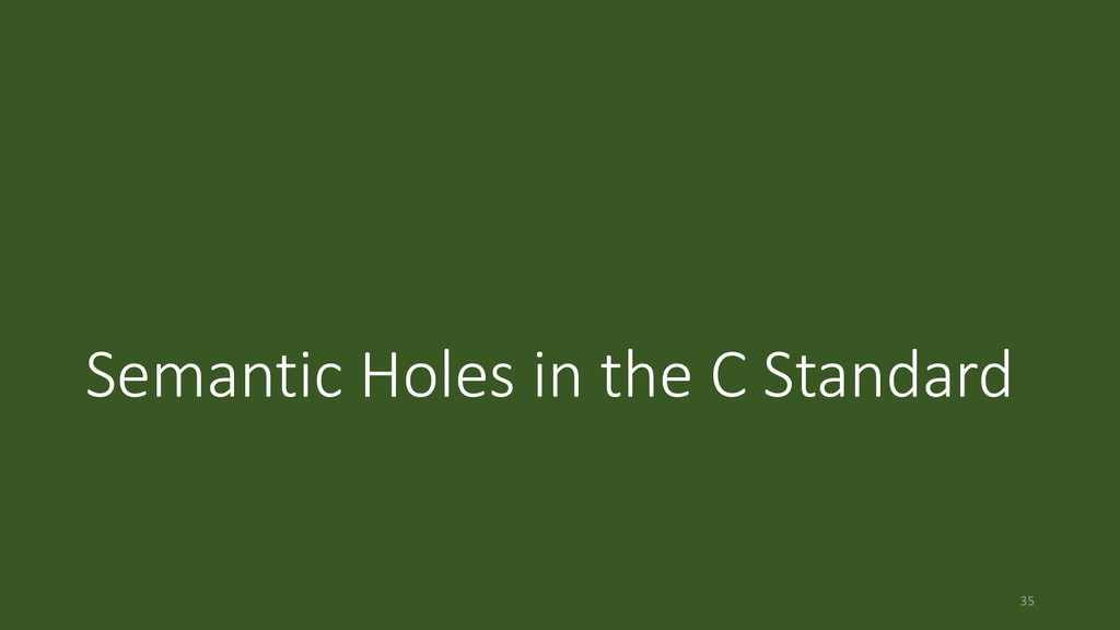 Semantic Holes in the C Standard 35
