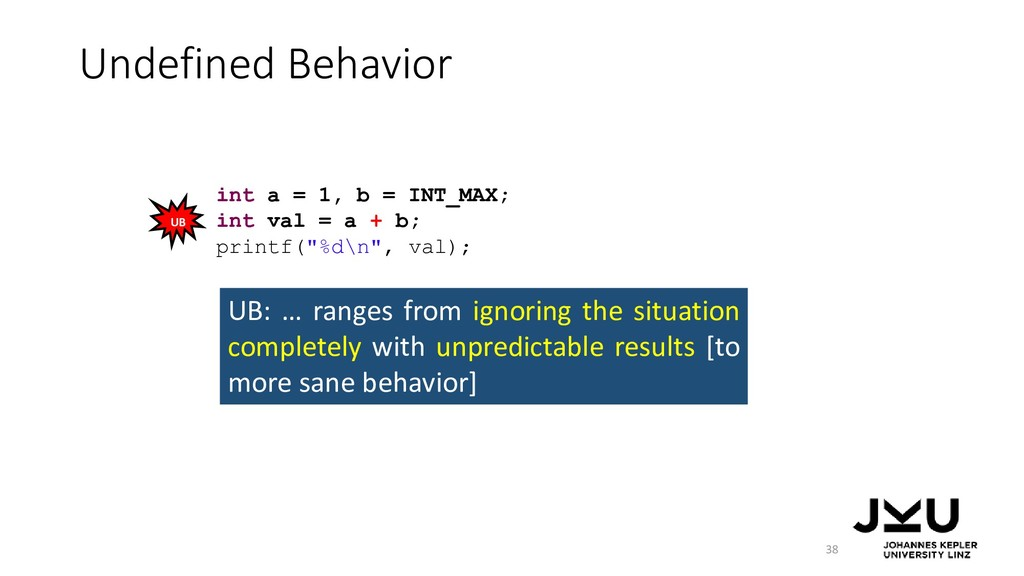 Undefined Behavior 38 UB: … ranges from ignorin...