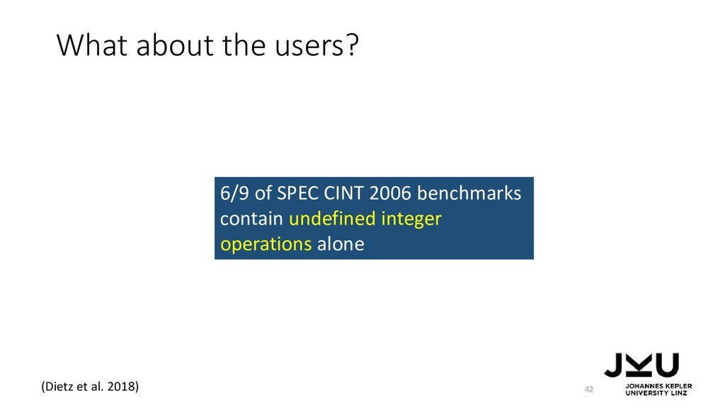 What about the users? 42 6/9 of SPEC CINT 2006 ...
