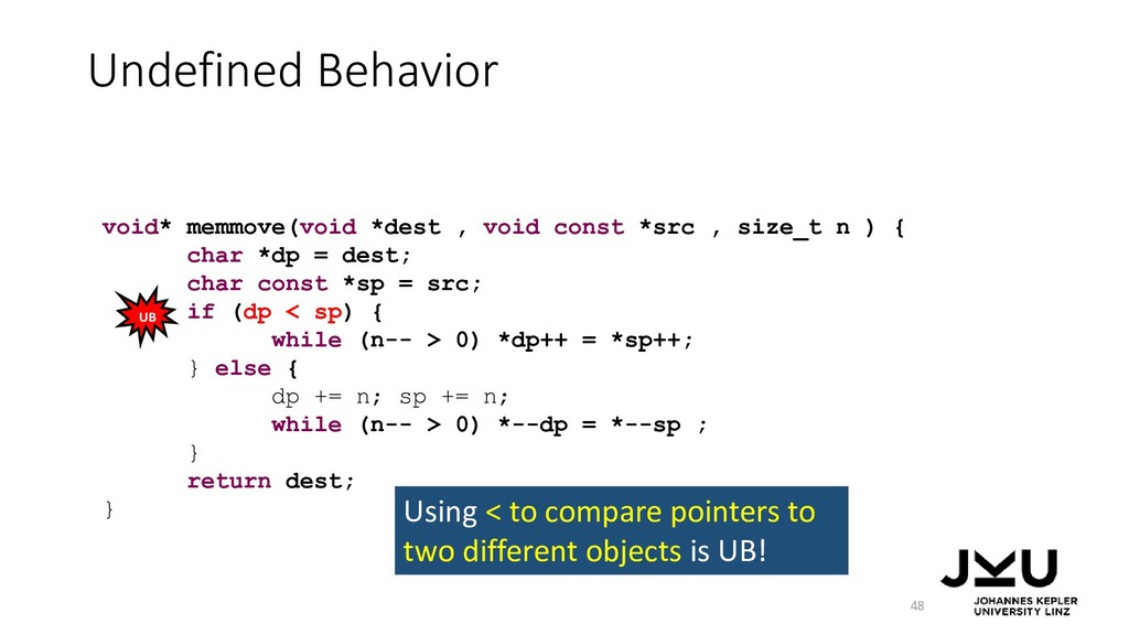 Undefined Behavior 48 void* memmove(void *dest ...