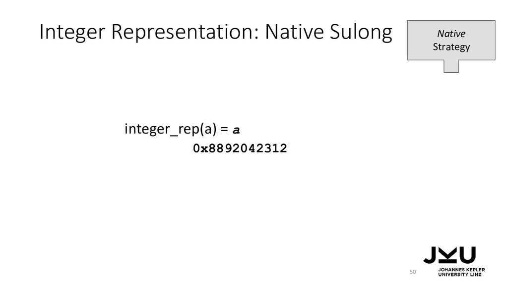 Integer Representation: Native Sulong 50 intege...