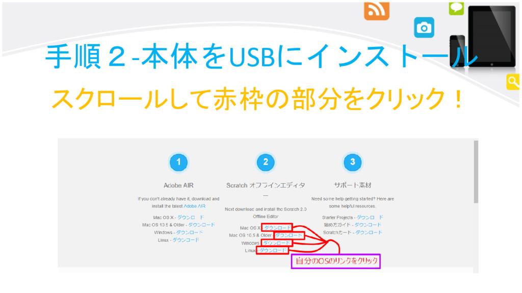 手順2-本体をUSBにインストール スクロールして赤枠の部分をクリック!