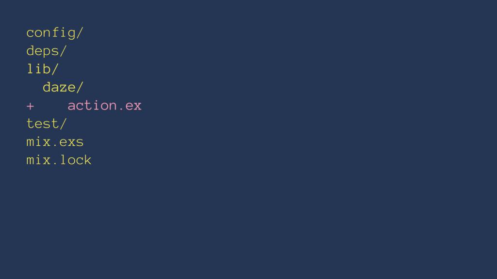 config/ deps/ lib/ daze/ + action.ex test/ mix....