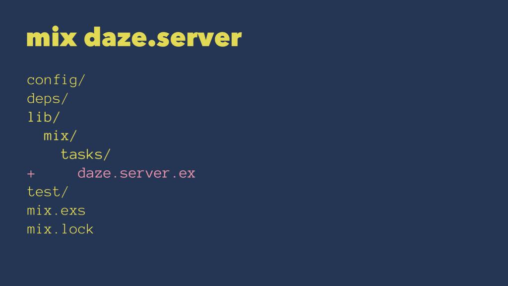 mix daze.server config/ deps/ lib/ mix/ tasks/ ...