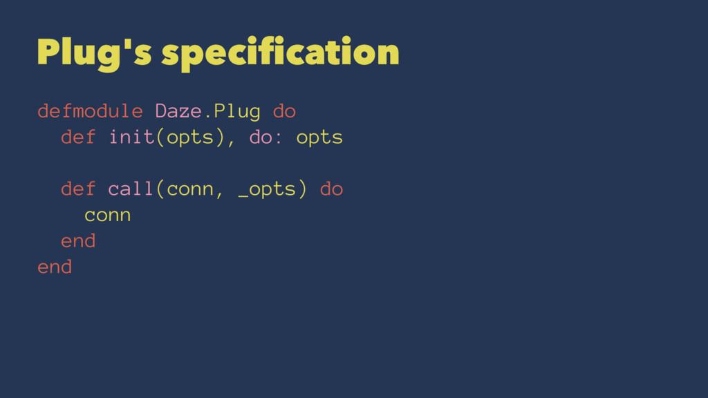 Plug's specification defmodule Daze.Plug do def ...