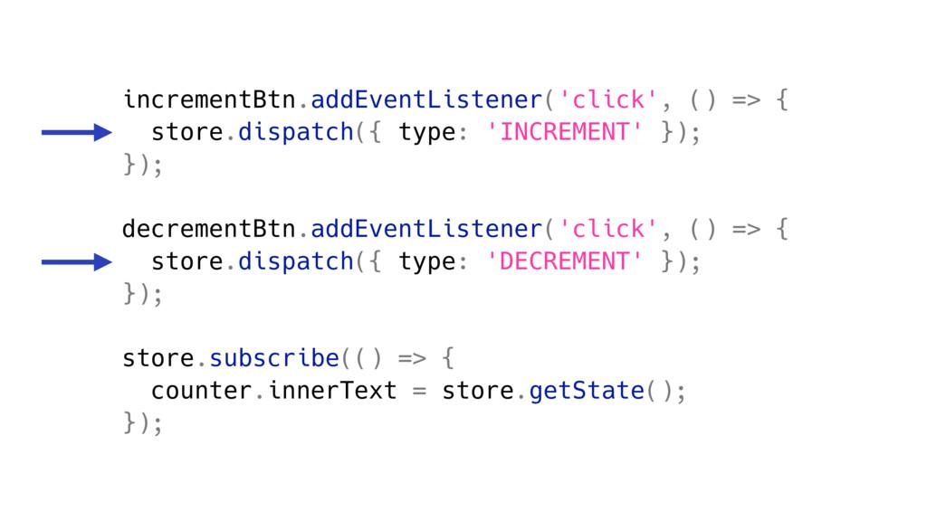incrementBtn.addEventListener('click', () => { ...