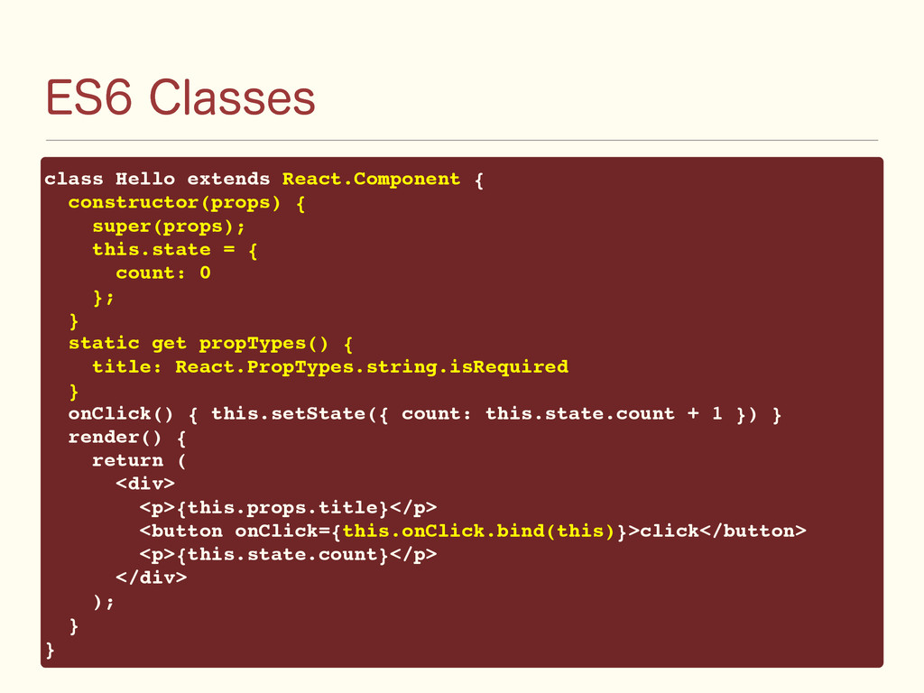 &4$MBTTFT class Hello extends React.Component...